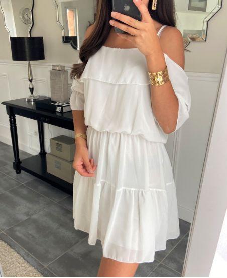 DRESS CLOAKING SHOULDERS DENUDEES 8526 WHITE
