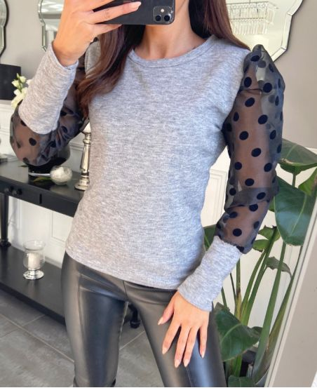 SWEATER SLEEVES TULLES WITH BIG POLKA DOTS 9771 BLACK