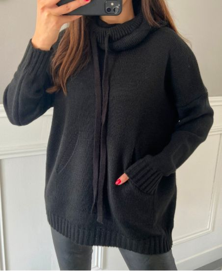 PULLOVER POCHES COL MONTANT 4574 NOIR