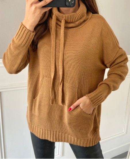 PULLOVER POCHES COL MONTANT 4574 CAMEL