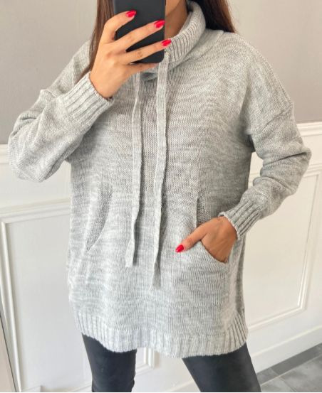 PULLOVER POCHES COL MONTANT 4574 GRIS