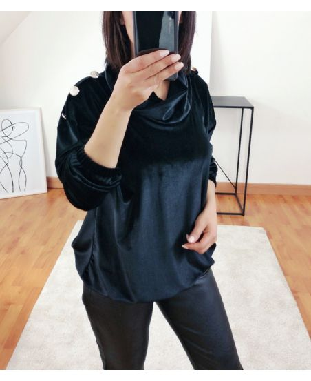 VELVET SWEATER WITH BUTTONS 9854 BLACK