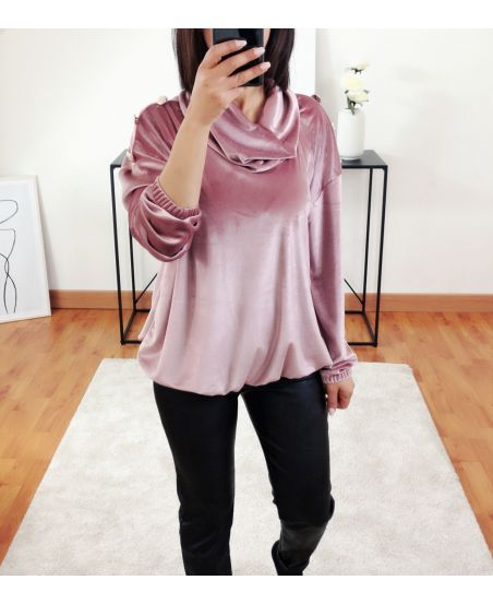 VELVET SWEATER WITH BUTTONS 9854 PINK