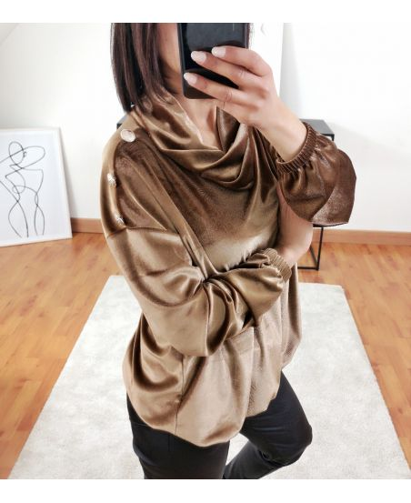 PULL VELOUR A BOUTONS 9854 CAMEL