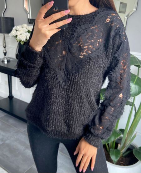 CHEST LACE SWEATER 9778 BLACK