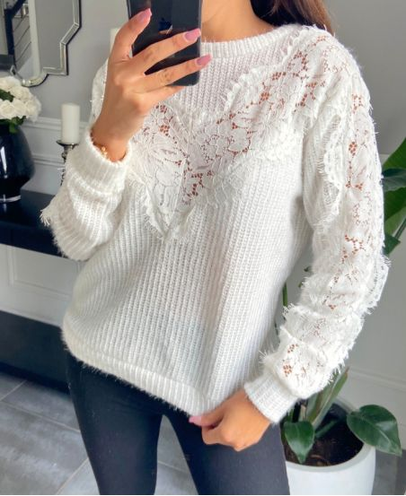 SWEATER LACE CHEST 9778 WHITE