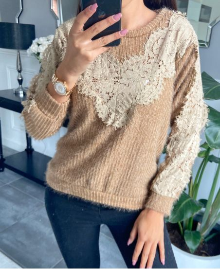 SWEATER LACE CHEST 9778 CAMEL