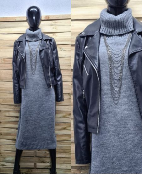 ROBE MAILLE COL ROULE 5478 GRIS
