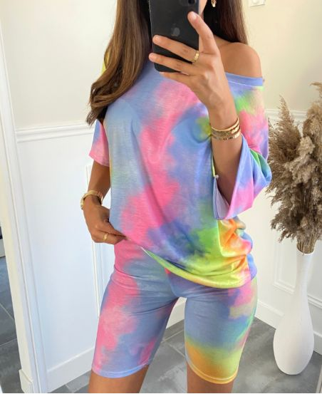 PACK 2 SET TIE AND DYE T-SHIRT + SHORTS 9511