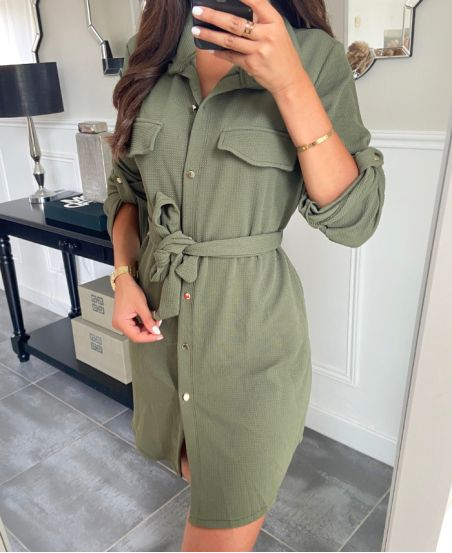 TUNIC BUTTONS + BELT FABRIC 9046 MILITARY GREEN
