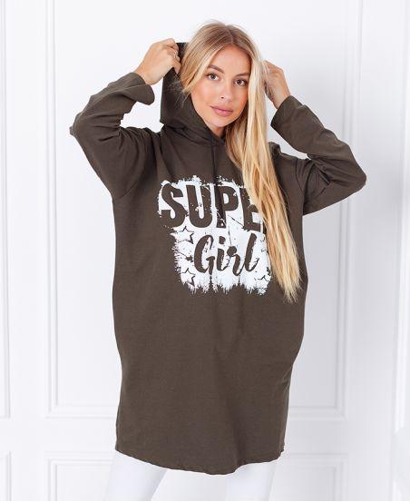 SUDADERA LARGA SUPER GIRL 1359 VERDE MILITAR
