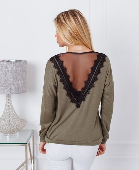 THIN LACE SWEATER 9091 MILITARY GREEN