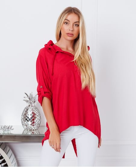 FLUID HOODED BLOUSE 9205 RED