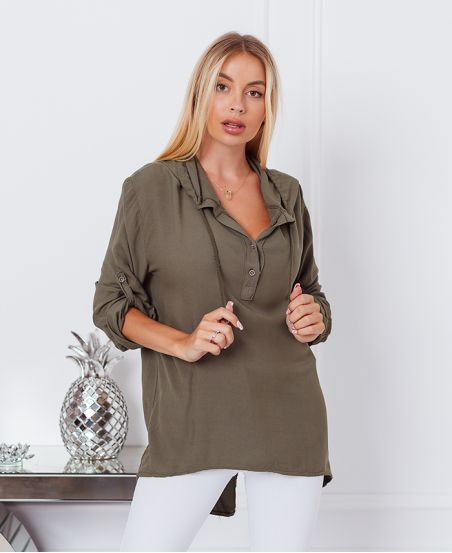 HOODED FLUID BLOUSE 9205 MILITARY GREEN