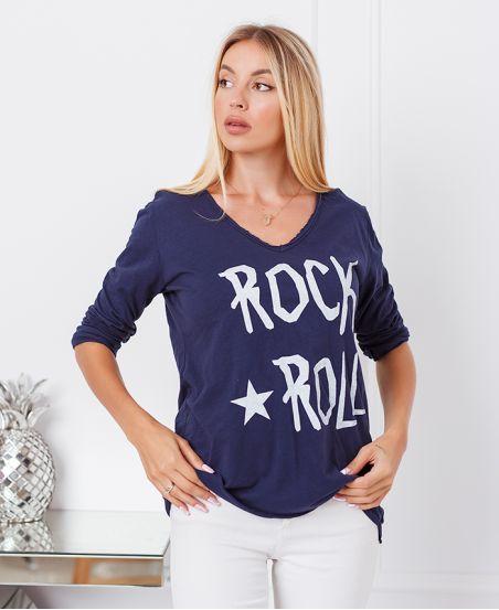 T-SHIRT, BAUMWOLLE, ROCK-N-ROLL-6661-MARINE-BLAU