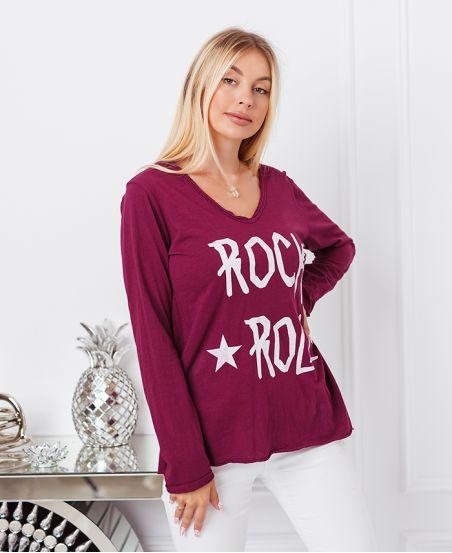 BORDOWY BAWEŁNIANY ROCK ' N ' ROLL 6661 T-SHIRT
