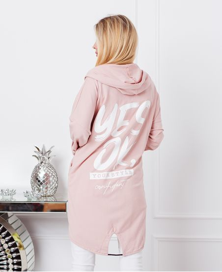 LONG HOODED VEST YES OK 20242 PINK