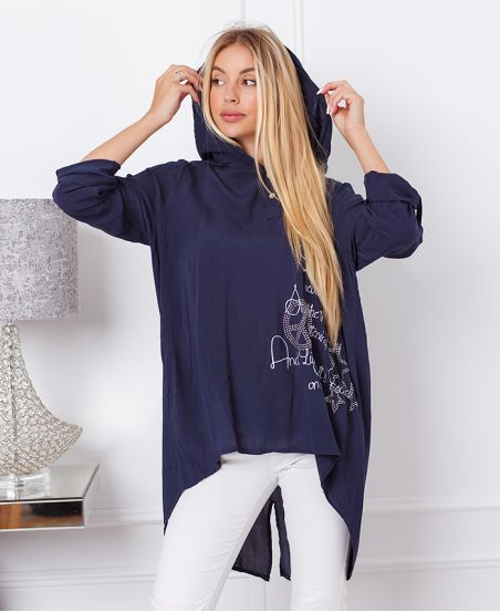 HOODED BLOUSE WITH RHINESTONES 20042 NAVY BLUE