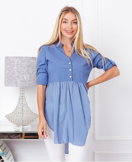 SWEATER TUNIC BI-MATERIAL NECKLINE WITH BUTTONS 19276 BLUE JEANS