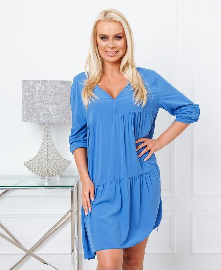 PLAIN OVERSIZE SHORT DRESS 6850 ROYAL BLUE