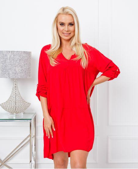 PLAIN OVERSIZE SHORT DRESS 6850 RED