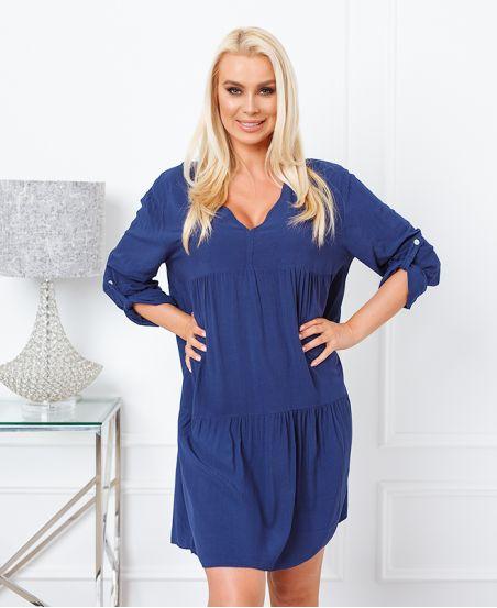 PLAIN OVERSIZE SHORT DRESS 6850 NAVY BLUE