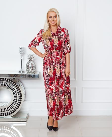 LONG PRINTED SHIRT DRESS 8464 BURGUNDY