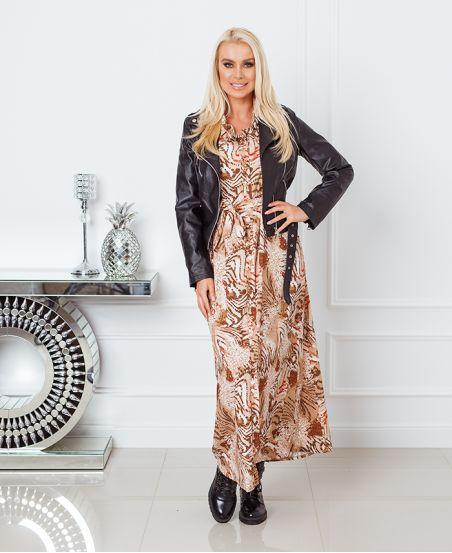 PRINTED LONG SHIRT DRESS 8464 BEIGE