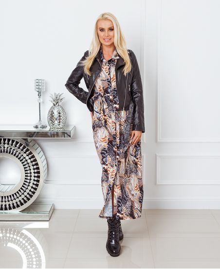 PRINTED LONG SHIRT DRESS 8464 BLACK