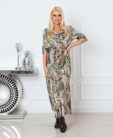 PRINTED LONG SHIRT DRESS 8464 MILITARY GREEN