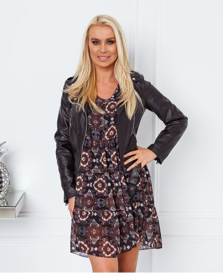V-NECK PRINT DRESS 9464I2 BLACK