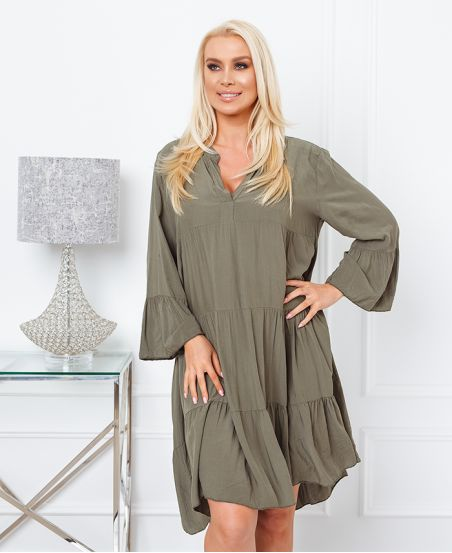 FLOWING OVERSIZE DRESS 9535 MILITARY GREEN