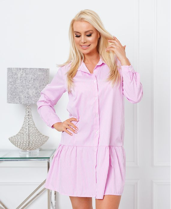 STRIPED SHIRT DRESS EVASEE 21288 PINK