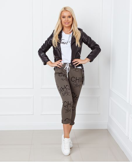 PANTS DECONTRACTE PRINT STAR CHIC 9534 MILITARY GREEN