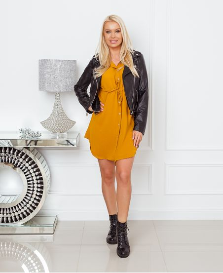 BUTTON TUNIC WITH LINK 1350 MUSTARD