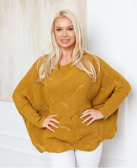 PULLOVER AJOURE OVERSIZE 933 MOUTARDE