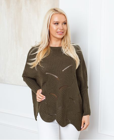 PULLOVER AJOURE OVERSIZE 933 MILITARY GREEN