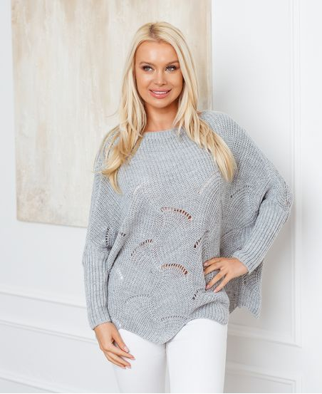 PULLOVER AJOURE OVERSIZE 933 GRIS CLAIR