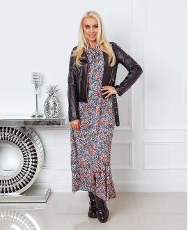 PRINTED LONG DRESS 9727 MILITARY GREEN
