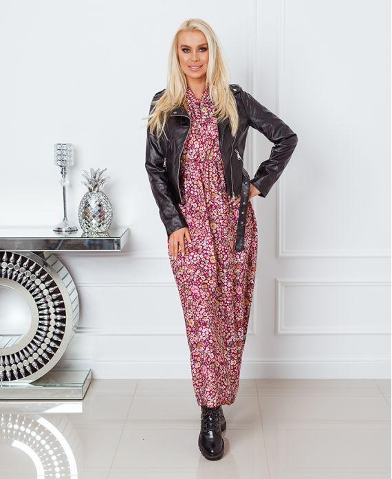 LONG PRINT DRESS 9727 BURGUNDY