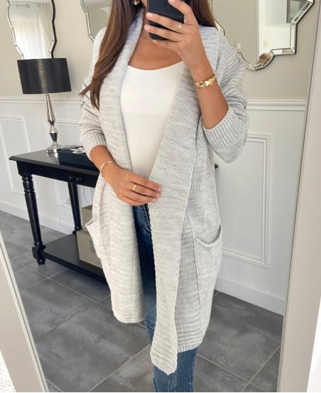 GILET MAILLE GRIS