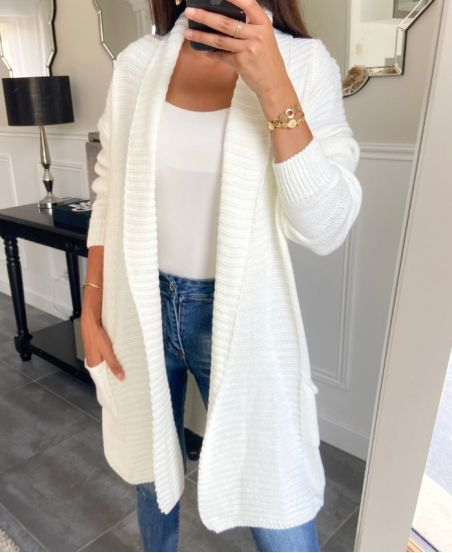 GILET MAILLE BLANC