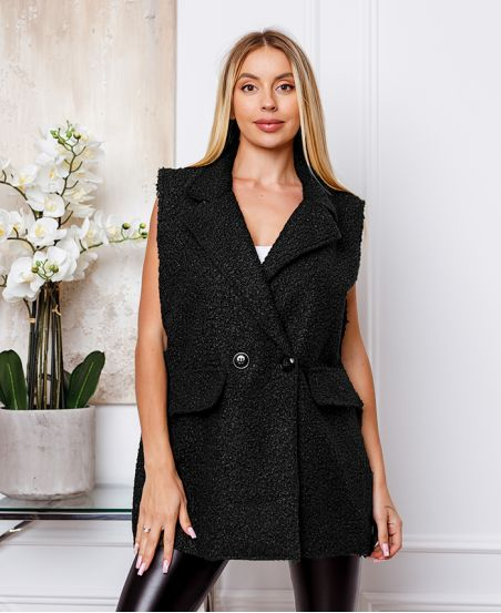 COAT WITHOUT SLEEVES MOUMOUTE BUTTONS 9819 BLACK