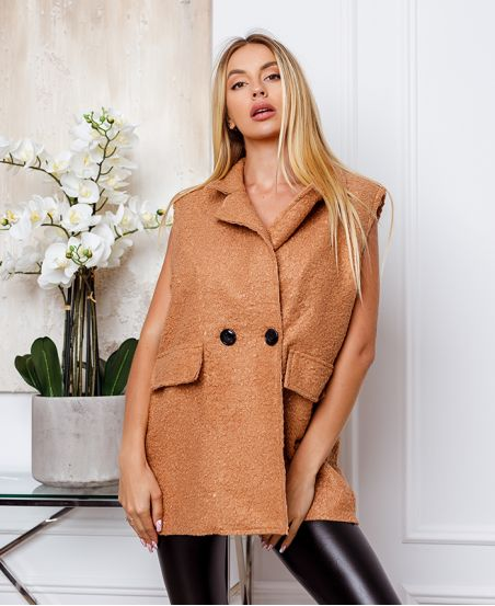COAT WITHOUT SLEEVES MOUMOUTE BUTTONS 9819 CAMEL