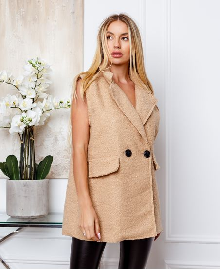 COAT WITHOUT SLEEVES MOUMOUTE BUTTONS 9819 BEIGE