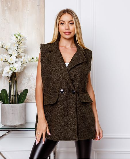 COAT WITHOUT SLEEVES MOUMOUTE BUTTONS 9819 MILITARY GREEN