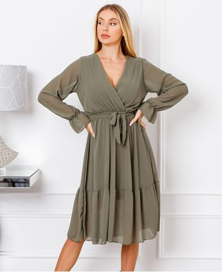 VOILE DRESS 1368 MILITARY GREEN