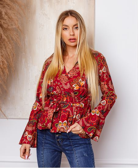 TUNIC FLOWER TO TIE 7832 RED