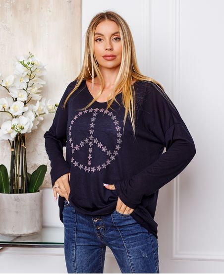 FINE SWEATER PEACE AND LOVE 20327 NAVY BLUE