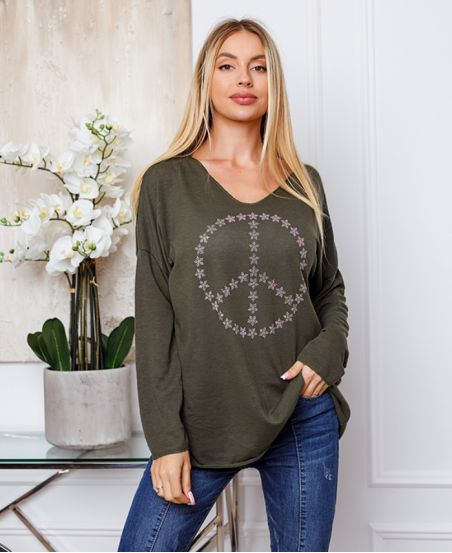 FINE SWEATER PEACE AND LOVE 20327 MILITARY GREEN